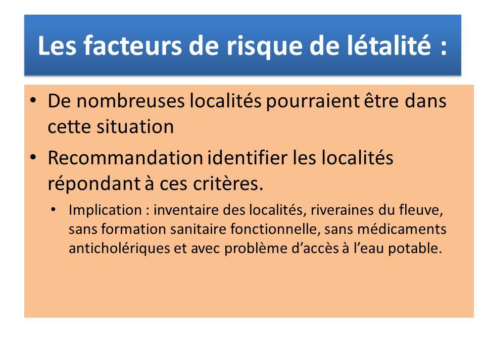 Les facteurs de risque de létalité : De nombreuses localités pourraient être dans cette situation Recommandation identifier les localités répondant à