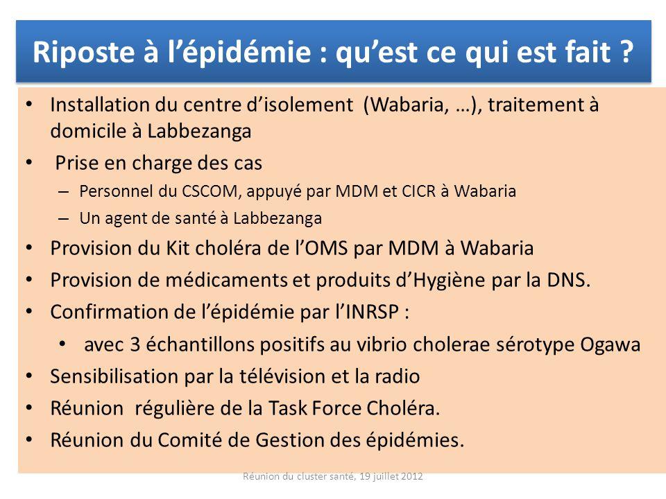 Riposte à lépidémie : quest ce qui est fait ? Installation du centre disolement (Wabaria, …), traitement à domicile à Labbezanga Prise en charge des c