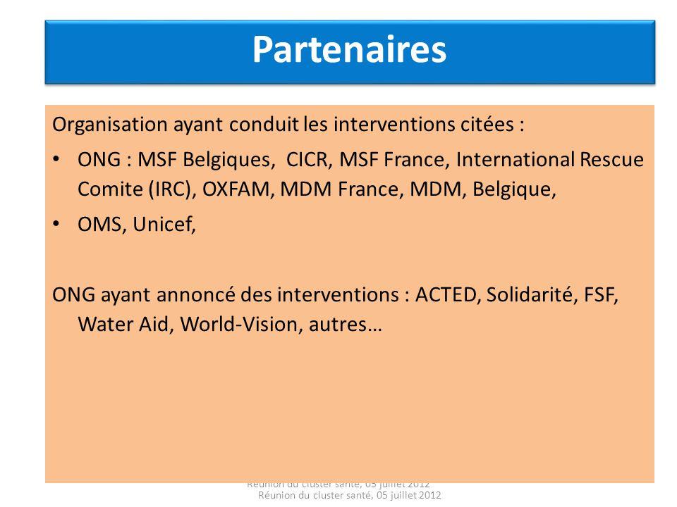 Réunion du cluster santé, 05 juillet 2012 Partenaires Organisation ayant conduit les interventions citées : ONG : MSF Belgiques, CICR, MSF France, Int