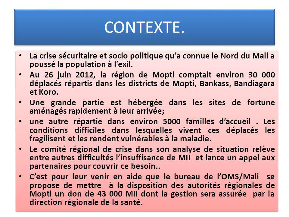 CONTEXTE. La crise sécuritaire et socio politique qua connue le Nord du Mali a poussé la population à lexil. Au 26 juin 2012, la région de Mopti compt