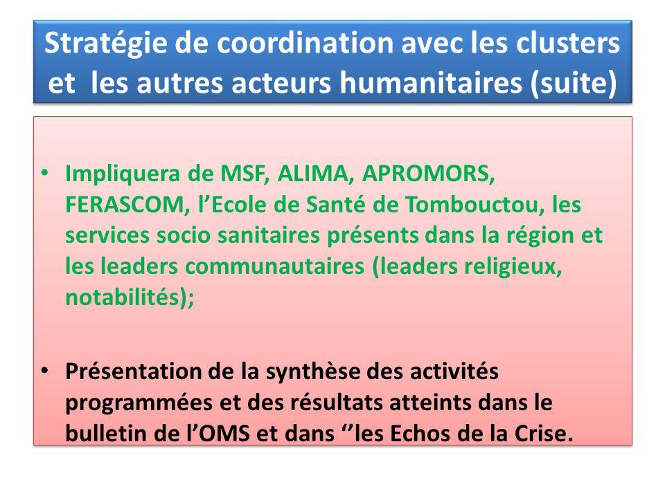 Impliquera de MSF, ALIMA, APROMORS, FERASCOM, lEcole de Santé de Tombouctou, les services socio sanitaires présents dans la région et les leaders comm