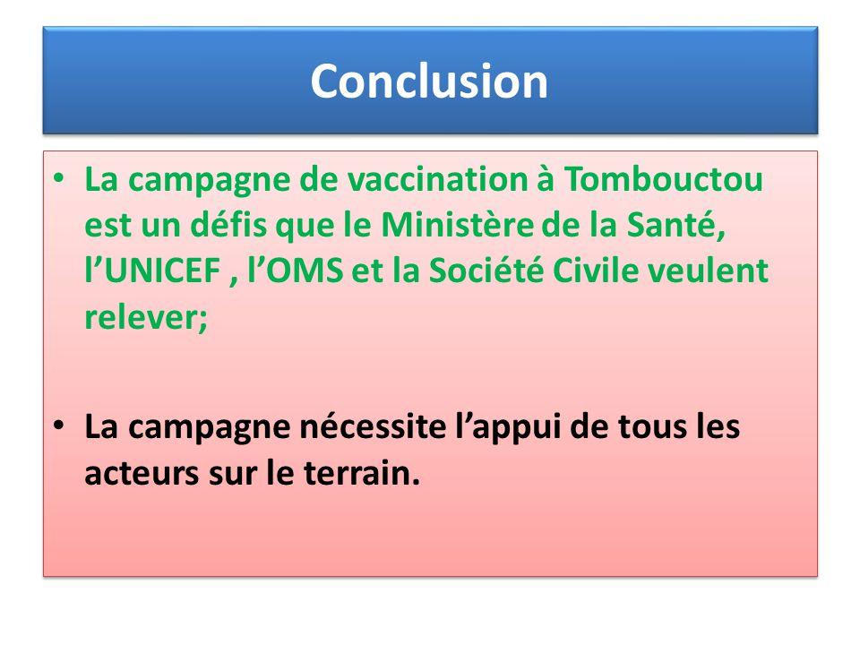 Conclusion La campagne de vaccination à Tombouctou est un défis que le Ministère de la Santé, lUNICEF, lOMS et la Société Civile veulent relever; La c