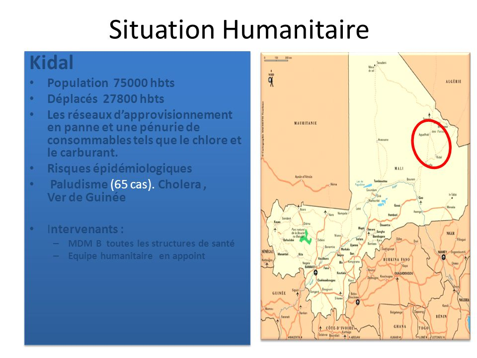 Situation Humanitaire Kidal Population 75000 hbts Déplacés 27800 hbts Les réseaux dapprovisionnement en panne et une pénurie de consommables tels que