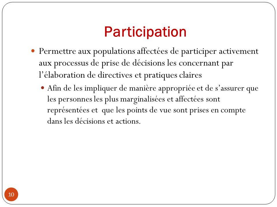 Participation Permettre aux populations affectées de participer activement aux processus de prise de décisions les concernant par lélaboration de dire