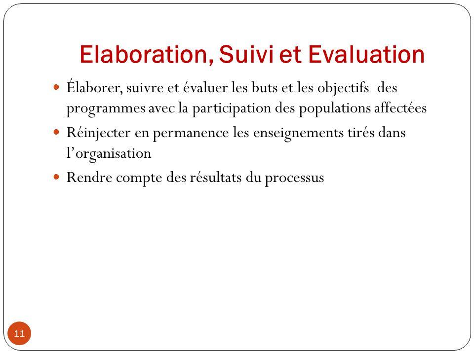 Elaboration, Suivi et Evaluation Élaborer, suivre et évaluer les buts et les objectifs des programmes avec la participation des populations affectées