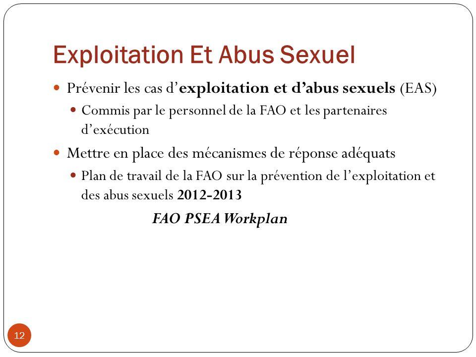 Exploitation Et Abus Sexuel 12 Prévenir les cas dexploitation et dabus sexuels (EAS) Commis par le personnel de la FAO et les partenaires dexécution M
