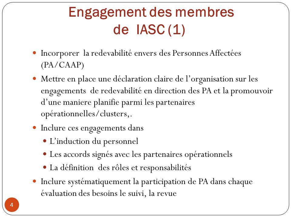 Engagement des membres de IASC (1) Incorporer la redevabilité envers des Personnes Affectées (PA/CAAP) Mettre en place une déclaration claire de lorga
