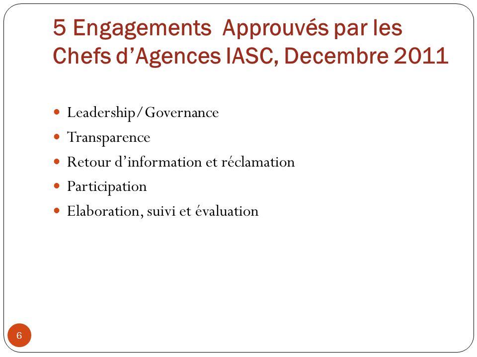 5 Engagements Approuvés par les Chefs dAgences IASC, Decembre 2011 Leadership/Governance Transparence Retour dinformation et réclamation Participation