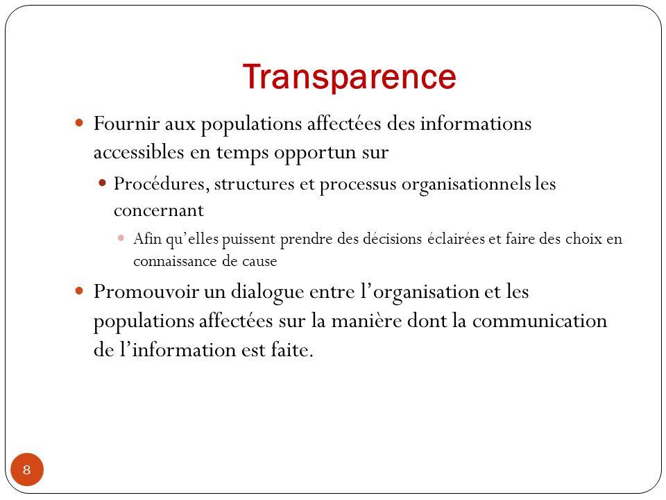 Transparence Fournir aux populations affectées des informations accessibles en temps opportun sur Procédures, structures et processus organisationnels