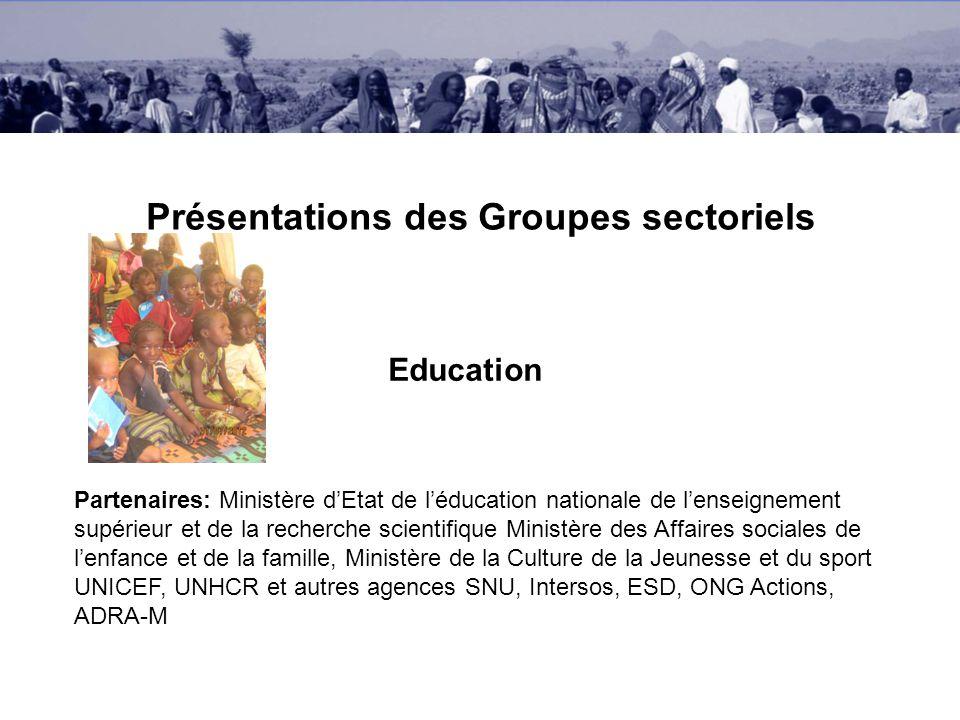 Présentations des Groupes sectoriels Education Partenaires: Ministère dEtat de léducation nationale de lenseignement supérieur et de la recherche scie