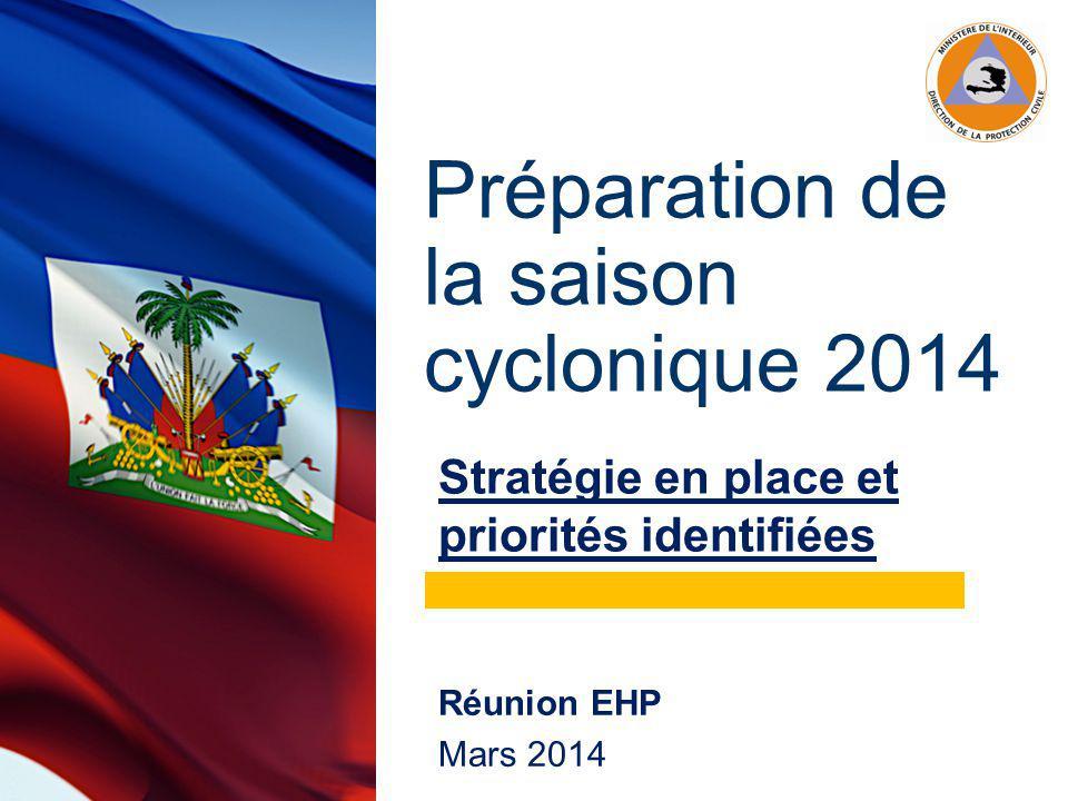 Préparation de la saison cyclonique 2014 Stratégie en place et priorités identifiées Réunion EHP Mars 2014