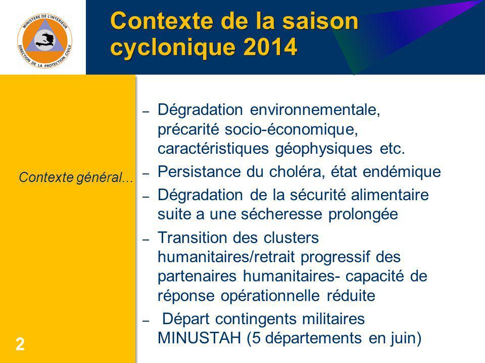 Contexte de la saison cyclonique 2014 2 – Dégradation environnementale, précarité socio-économique, caractéristiques géophysiques etc. – Persistance d