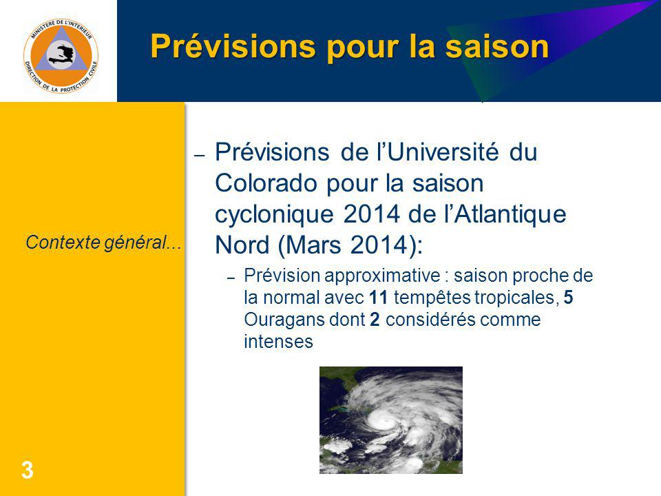 Prévisions pour la saison 3 – Prévisions de lUniversité du Colorado pour la saison cyclonique 2014 de lAtlantique Nord (Mars 2014): – Prévision approx