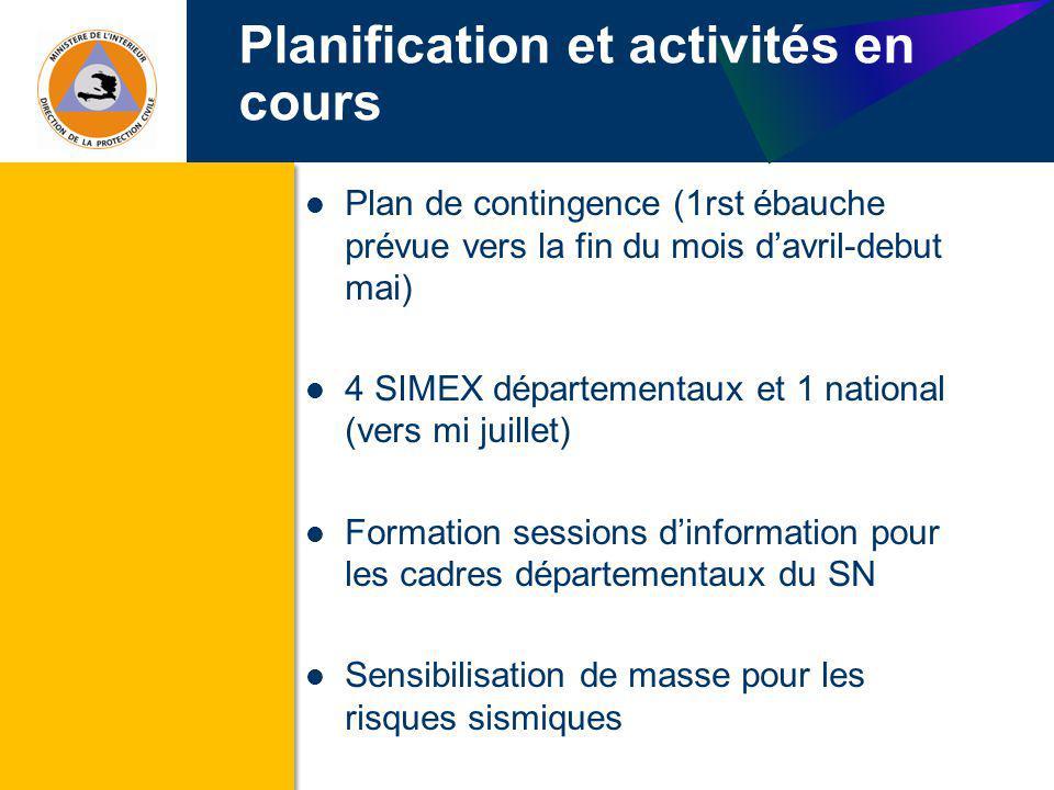 Planification et activités en cours (suite) SOP pour tsunami en cours de finalisation Manuel de réponse en abris durgence en phase de finalisation Harmonisation des EIC en cours