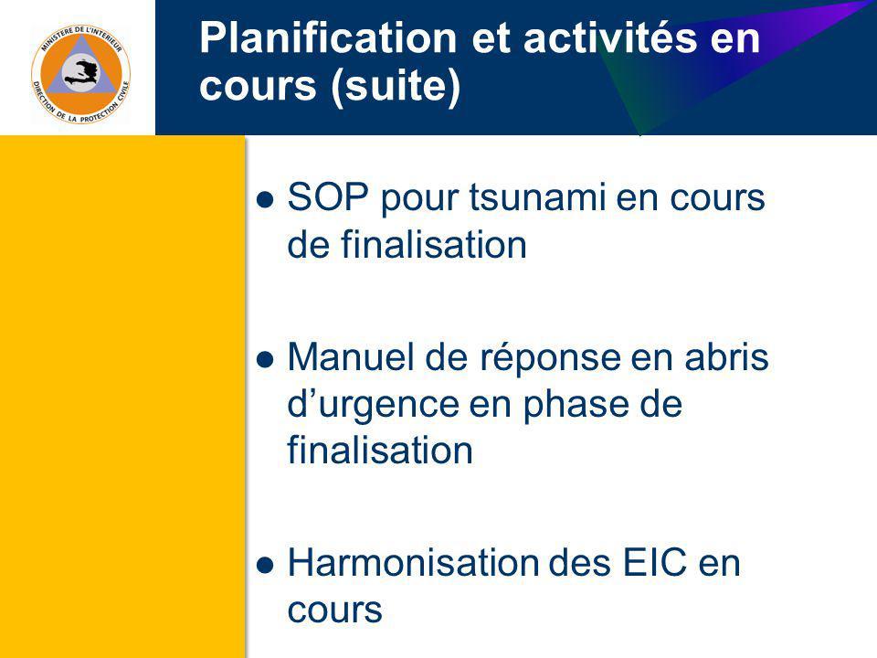 Planification et activités en cours (suite) SOP pour tsunami en cours de finalisation Manuel de réponse en abris durgence en phase de finalisation Har