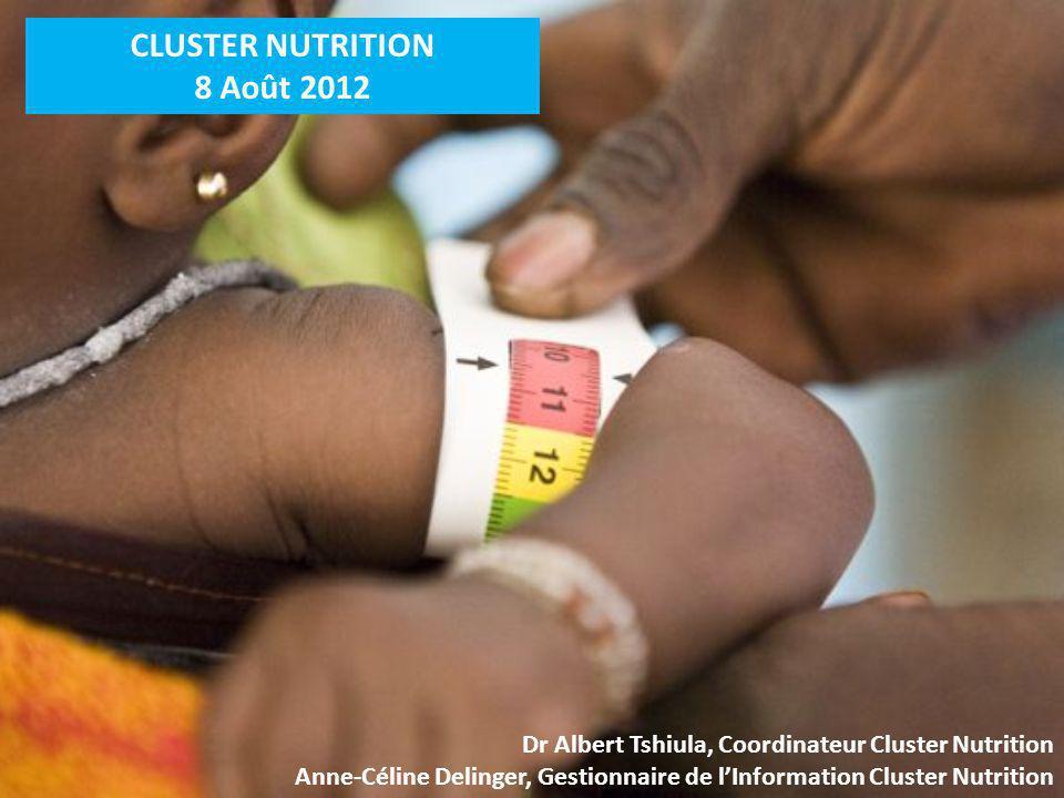 CLUSTER NUTRITION 8 Août 2012 Dr Albert Tshiula, Coordinateur Cluster Nutrition Anne-Céline Delinger, Gestionnaire de lInformation Cluster Nutrition