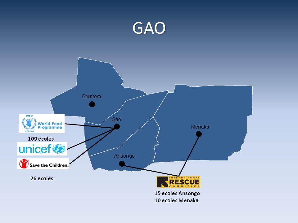GAO Boutrem Gao Ansongo Menaka 15 ecoles Ansongo 10 ecoles Menaka 26 ecoles 109 ecoles