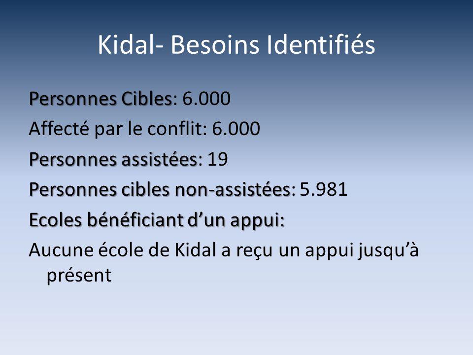 Kidal- Besoins Identifiés Personnes Cibles Personnes Cibles: 6.000 Affecté par le conflit: 6.000 Personnes assistées Personnes assistées: 19 Personnes