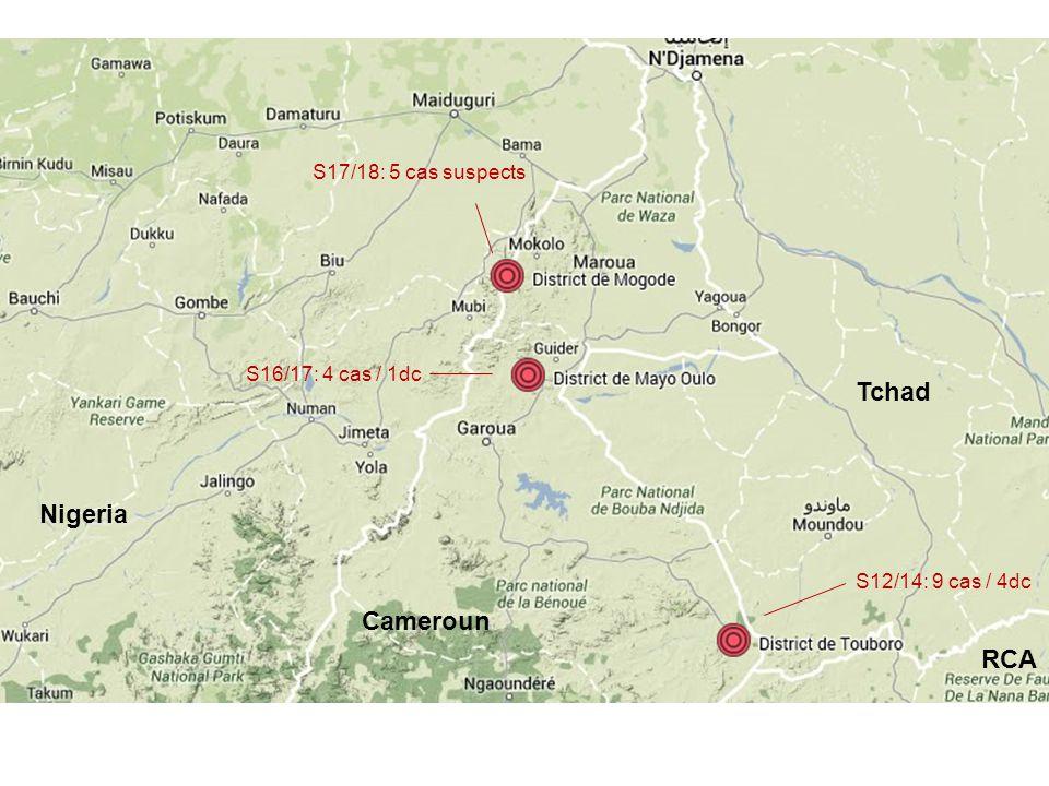 Nigeria Cameroun Tchad RCA S17/18: 5 cas suspects S16/17: 4 cas / 1dc S12/14: 9 cas / 4dc