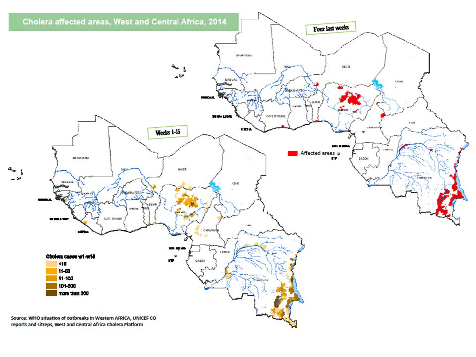 Nigeria : Restitution de la mission conjointe de la plateforme As of April 20th 2014, 17,266 cholera cases and 212 deaths (Case Fatality Rate 1.2%) were reported from 80 Local Government Areas (LGAs) in 15 States in Nigeria.