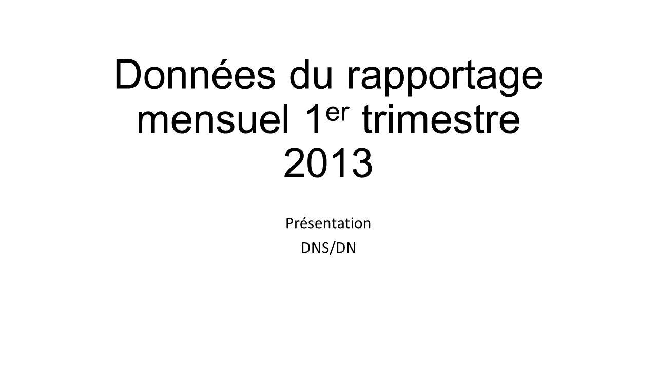 Données du rapportage mensuel 1 er trimestre 2013 Présentation DNS/DN