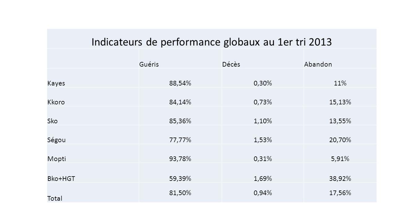 Indicateurs de performance globaux au 1er tri 2013 GuérisDécèsAbandon Kayes88,54%0,30%11% Kkoro84,14%0,73%15,13% Sko85,36%1,10%13,55% Ségou77,77%1,53%20,70% Mopti93,78%0,31%5,91% Bko+HGT59,39%1,69%38,92% Total 81,50%0,94%17,56%