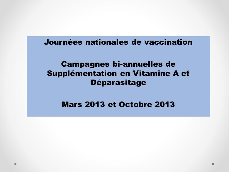 Journées nationales de vaccination Campagnes bi-annuelles de Supplémentation en Vitamine A et Déparasitage Mars 2013 et Octobre 2013