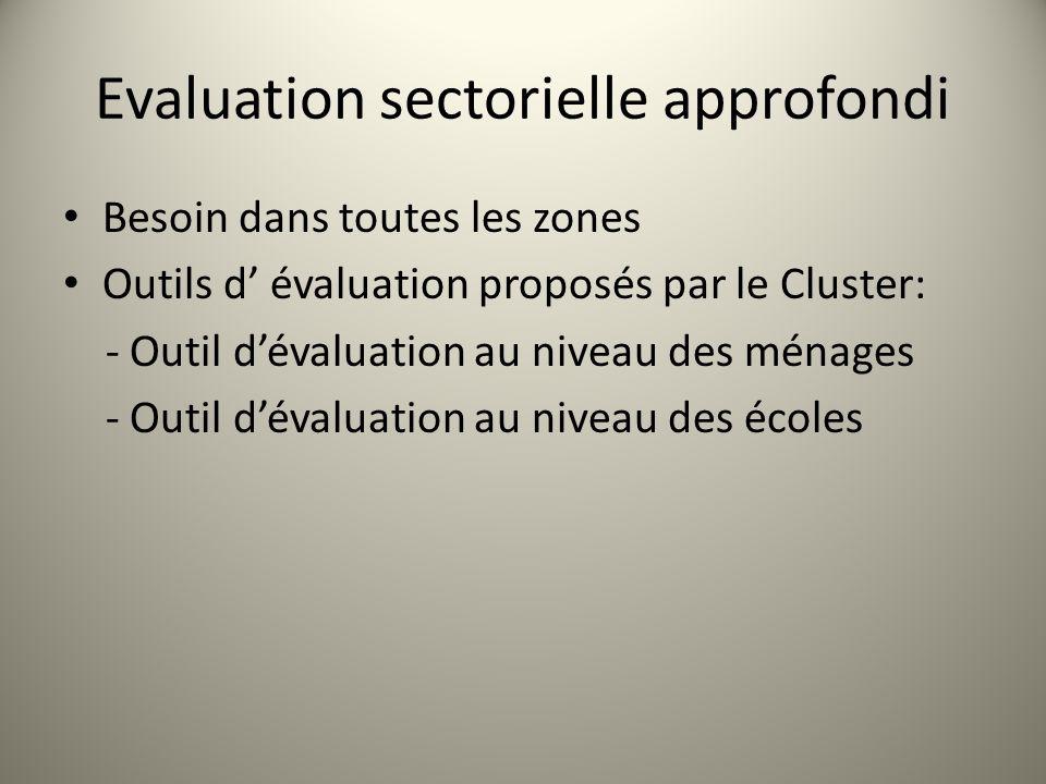 Evaluation sectorielle approfondi Besoin dans toutes les zones Outils d évaluation proposés par le Cluster: - Outil dévaluation au niveau des ménages