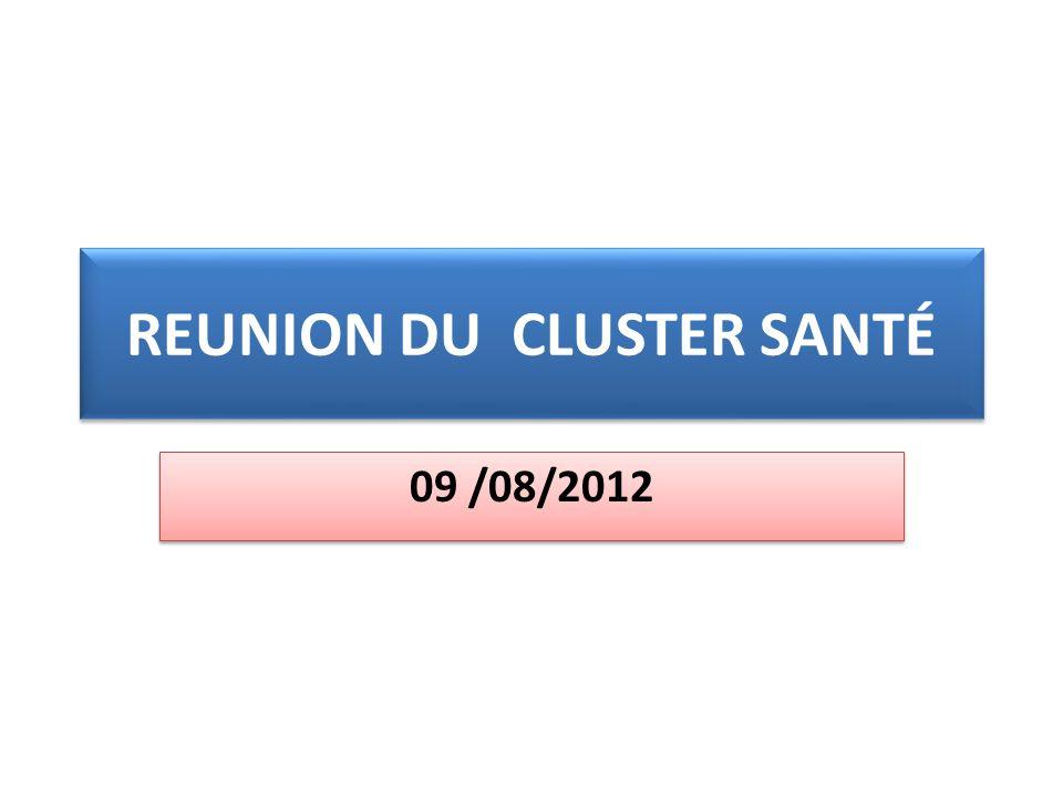 REUNION DU CLUSTER SANTÉ 09 /08/2012