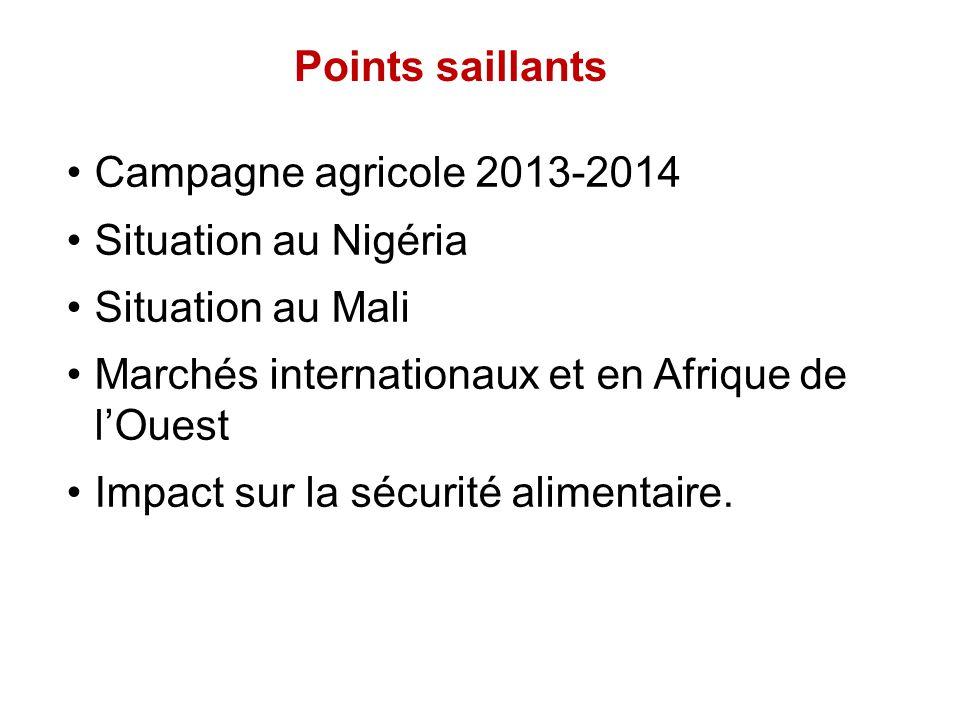 Points saillants Campagne agricole 2013-2014 Situation au Nigéria Situation au Mali Marchés internationaux et en Afrique de lOuest Impact sur la sécur