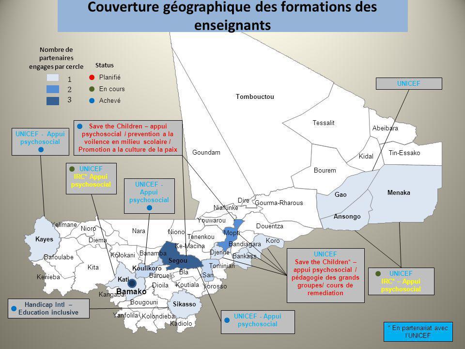 Couverture géographique des formations des enseignants UNICEF - Appui psychosocial UNICEF IRC* – Appui psychosocial UNICEF IRC* Appui psychosocial Han