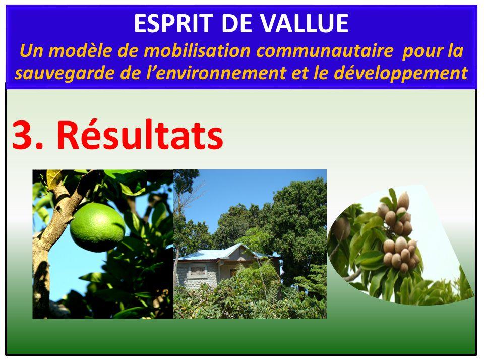3. Résultats ESPRIT DE VALLUE Un modèle de mobilisation communautaire pour la sauvegarde de lenvironnement et le développement