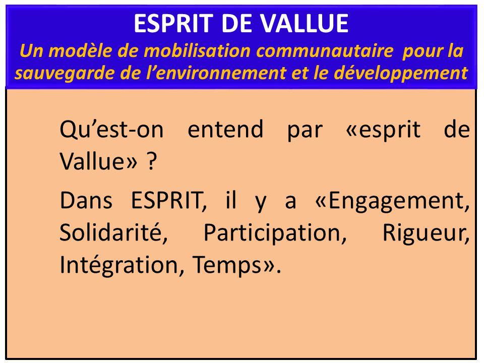 Quest-on entend par «esprit de Vallue» ? Dans ESPRIT, il y a «Engagement, Solidarité, Participation, Rigueur, Intégration, Temps». ESPRIT DE VALLUE Un