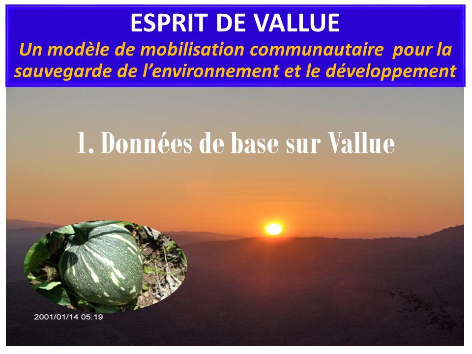 1. Données de base sur Vallue ESPRIT DE VALLUE Un modèle de mobilisation communautaire pour la sauvegarde de lenvironnement et le développement