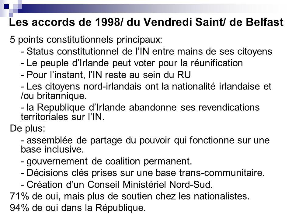 Les accords de 1998/ du Vendredi Saint/ de Belfast 5 points constitutionnels principaux: - Status constitutionnel de lIN entre mains de ses citoyens -
