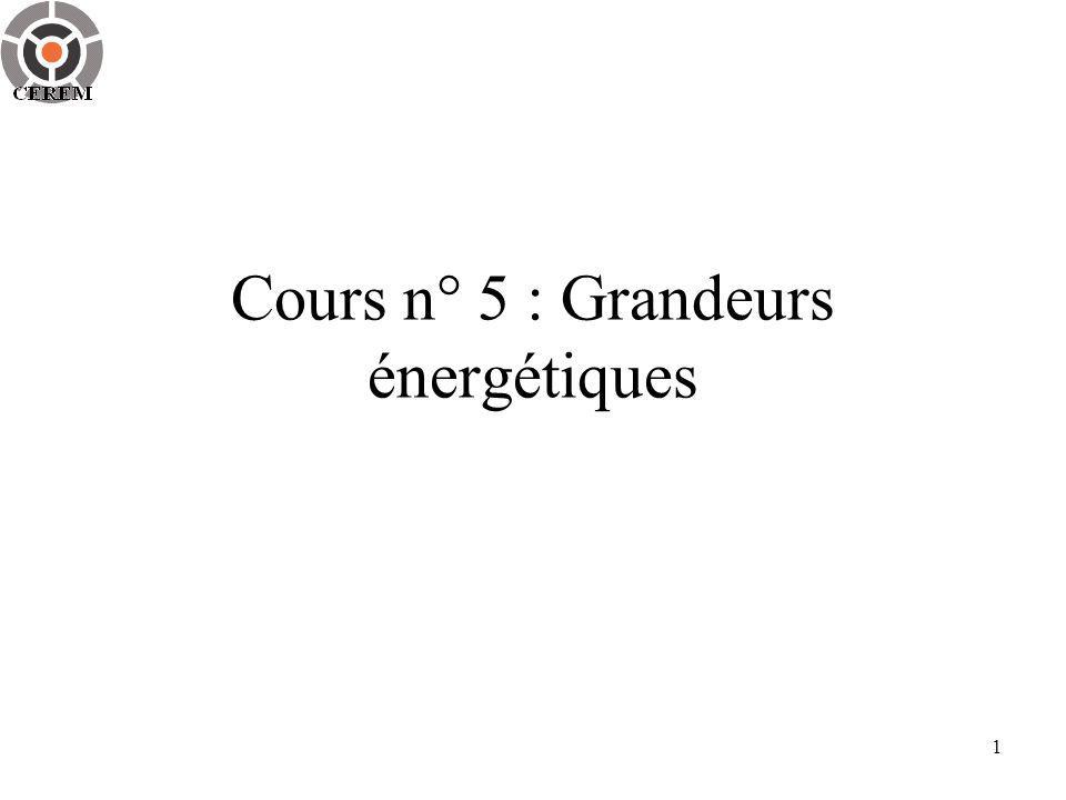 1 Cours n° 5 : Grandeurs énergétiques