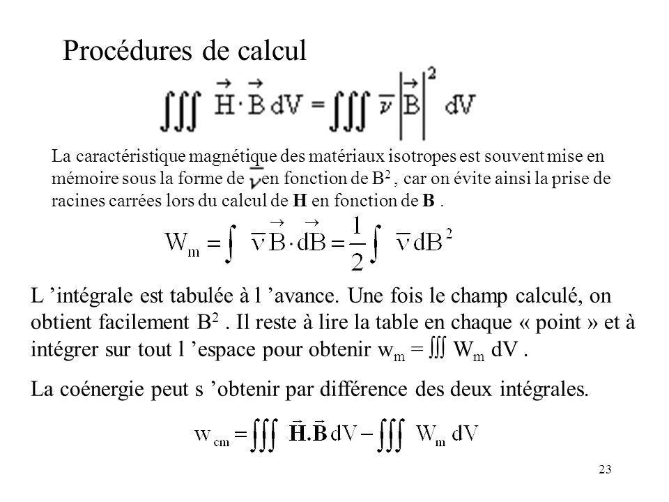 23 Procédures de calcul L intégrale est tabulée à l avance.