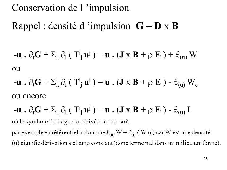 28 Conservation de l impulsion Rappel : densité d impulsion G = D x B -u.
