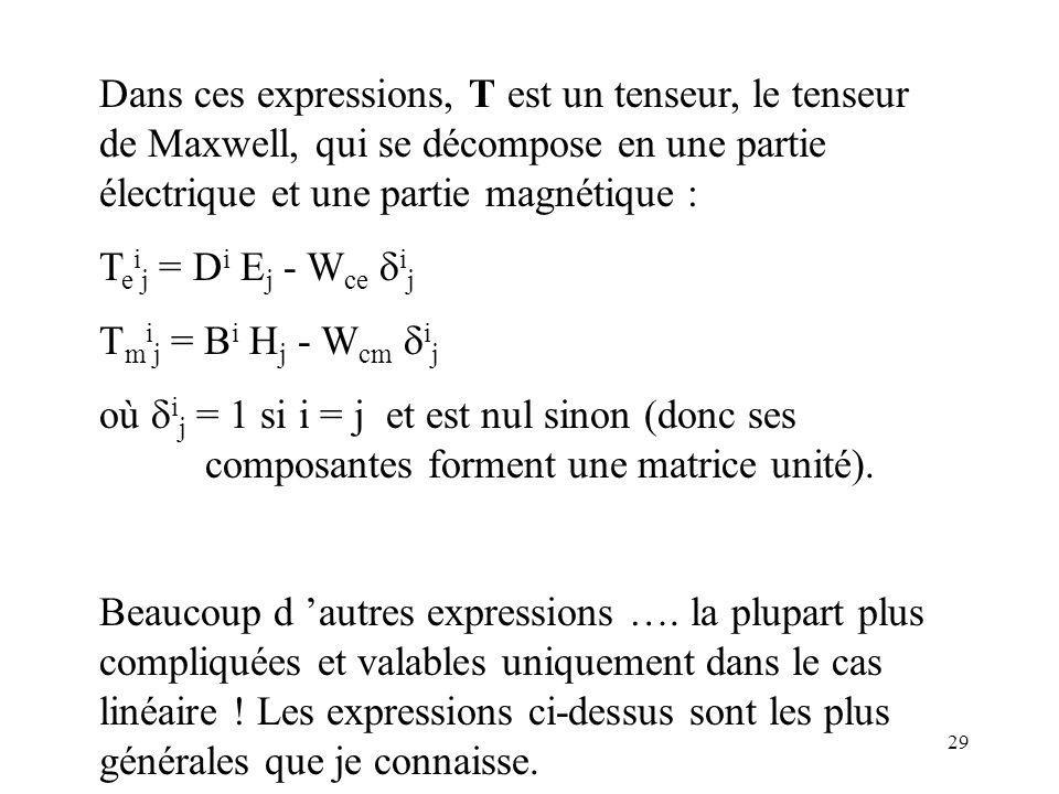 29 Dans ces expressions, T est un tenseur, le tenseur de Maxwell, qui se décompose en une partie électrique et une partie magnétique : T e i j = D i E j - W ce i j T m i j = B i H j - W cm i j où i j = 1 si i = j et est nul sinon (donc ses composantes forment une matrice unité).