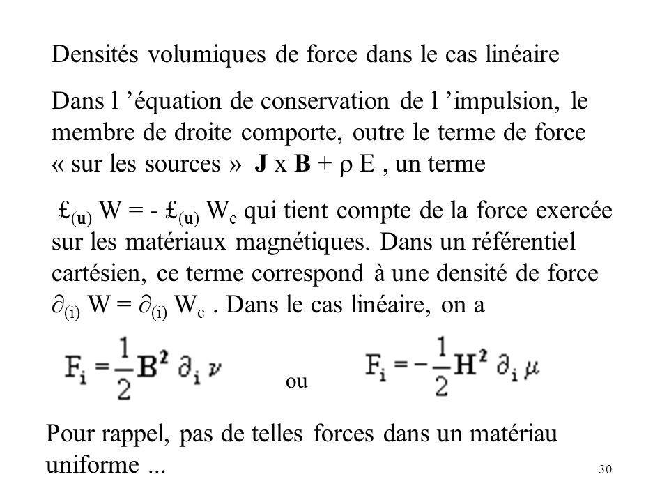 30 Densités volumiques de force dans le cas linéaire Dans l équation de conservation de l impulsion, le membre de droite comporte, outre le terme de force « sur les sources » J x B + E, un terme £ (u) W = - £ (u) W c qui tient compte de la force exercée sur les matériaux magnétiques.