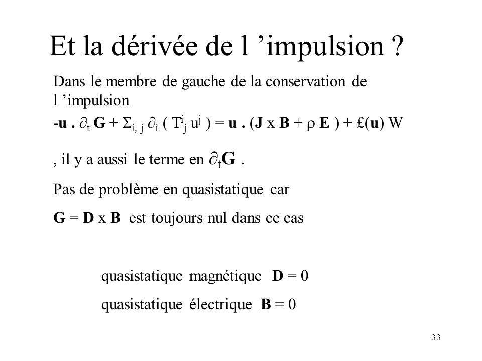 33 Et la dérivée de l impulsion .Dans le membre de gauche de la conservation de l impulsion -u.