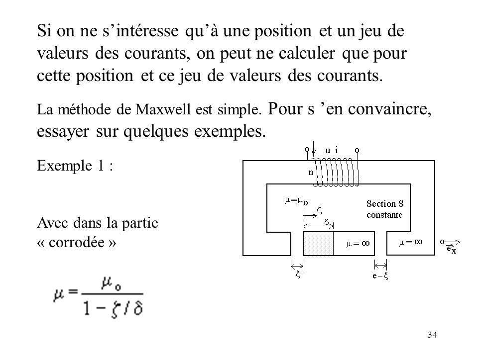 34 Si on ne sintéresse quà une position et un jeu de valeurs des courants, on peut ne calculer que pour cette position et ce jeu de valeurs des courants.