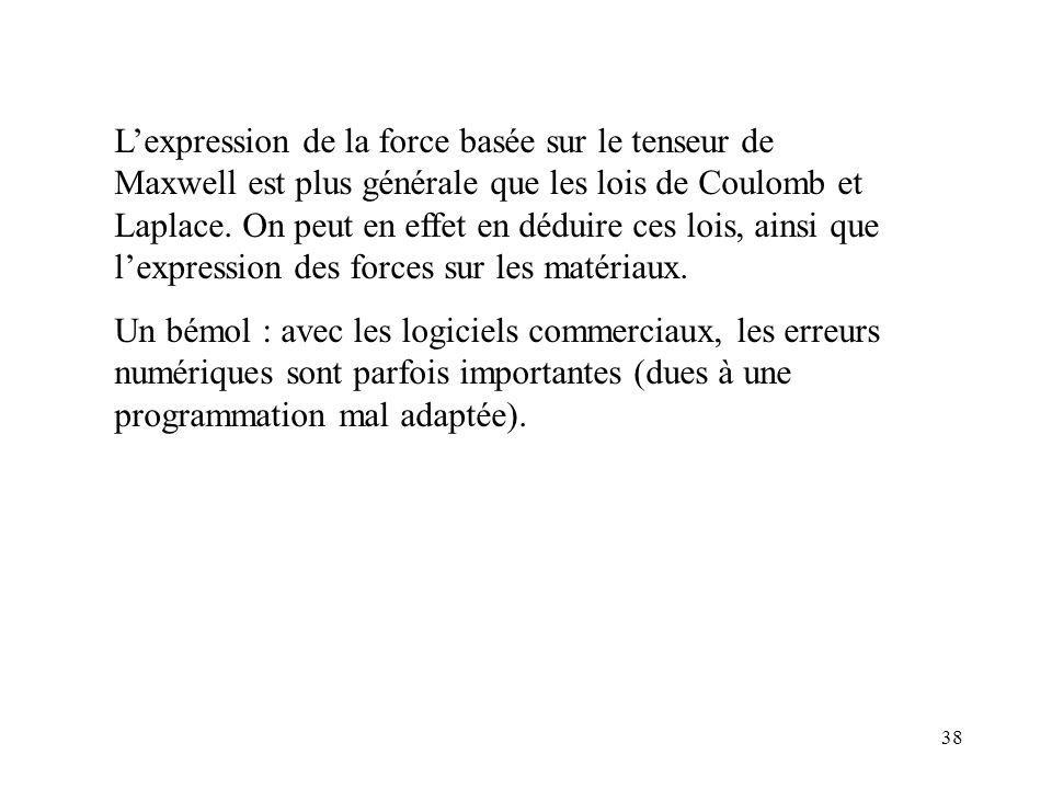 38 Lexpression de la force basée sur le tenseur de Maxwell est plus générale que les lois de Coulomb et Laplace.