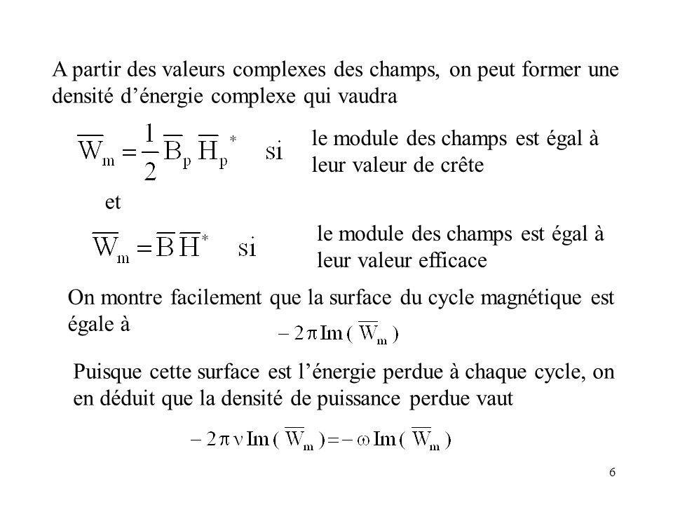 6 A partir des valeurs complexes des champs, on peut former une densité dénergie complexe qui vaudra et le module des champs est égal à leur valeur de crête le module des champs est égal à leur valeur efficace On montre facilement que la surface du cycle magnétique est égale à Puisque cette surface est lénergie perdue à chaque cycle, on en déduit que la densité de puissance perdue vaut