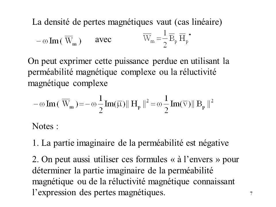 8 Les pertes par courants de Foucault locaux (limités par la taille des grains ou lépaisseur des plaques…) sont classées - comme pertes Joule dans un modèle fin - mais comme pertes magnétiques dans un modèle macroscopique Même dans le modèle fin, on peut avoir une perméabilité magnétique complexe, de façon à tenir compte des pertes qui ne sont pas dues à des courants de Foucault à léchelle de ce modèle.