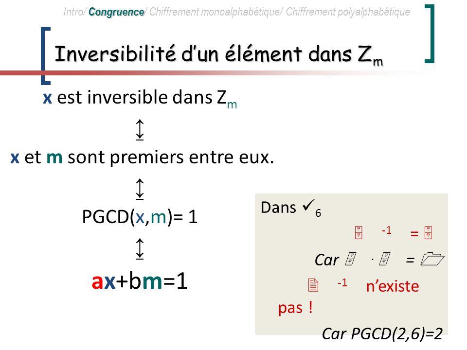 Classe de résidus Congruence Intro/ Congruence / Chiffrement monoalphabétique/ Chiffrement polyalphabétique Dans 3 = 0, 1, 2 : 2 + 1 = 2+1 = 3 = 0 2.