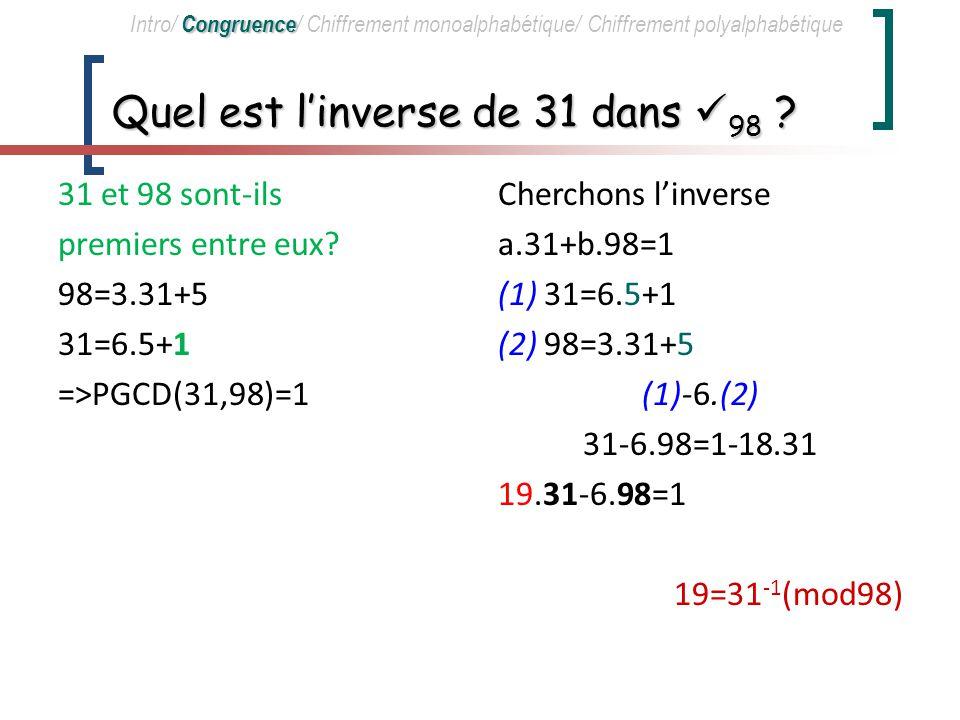 Inversibilité dun élément dans Z m x est inversible dans Z m x et m sont premiers entre eux.