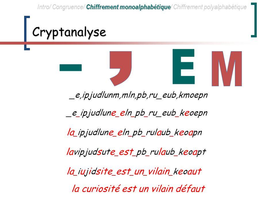 Déchiffrement zd_hoitcktml_lkm_oa_qtzdta_jlndom Cryptogramme c Equivalent num é rique 15(c-3) 15 (c-3) mod 29 Texte clair x d 30 0a _ 26345 26_ h 760 2c La curiosité est un vilain défaut (x)=c=(2x+3) mod 29 x= -1 (c)= 2 -1 (c-3) mod 29 x= -1 (c)= 15 (c-3) mod 29 z2533011l Chiffrement monoalphabétique Intro/ Congruence/ Chiffrement monoalphabétique / Chiffrement polyalphabétique