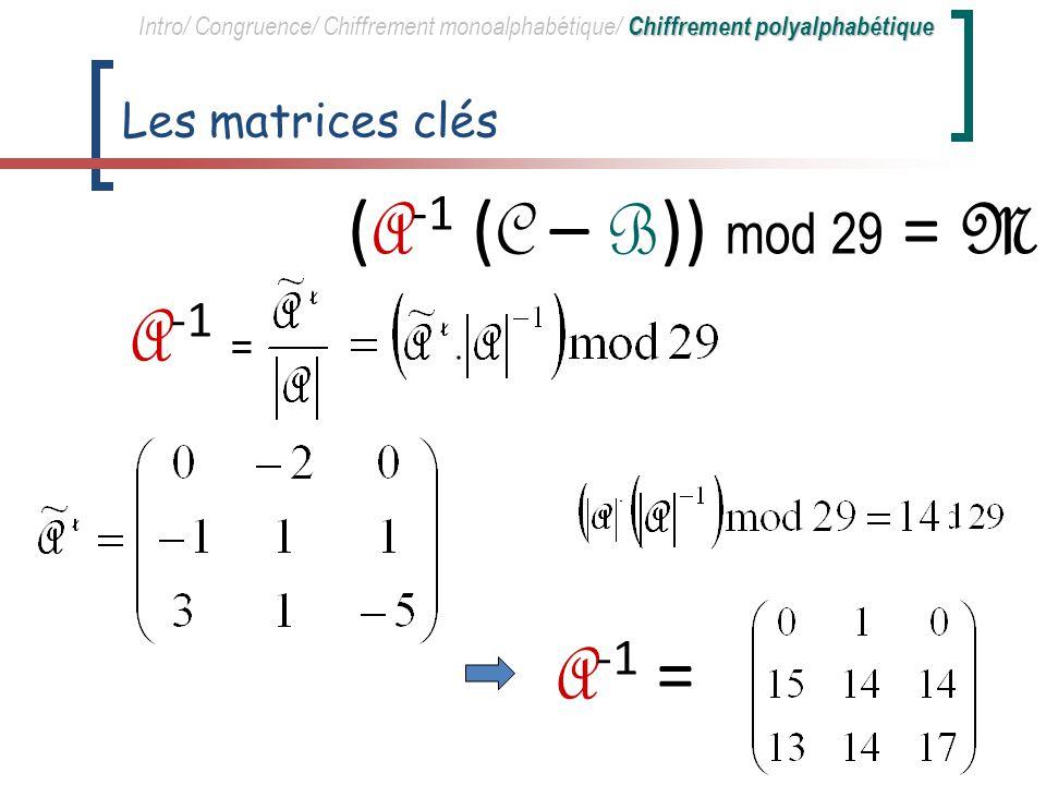 Matrice du cryptogramme EGQ/PXZ/QKQ/PIS/UBC/.XR/RMO/HDW C = Chiffrement polyalphabétique Intro/ Congruence/ Chiffrement monoalphabétique/ Chiffrement polyalphabétique ( A -1 ( C – B )) mod 29 = M