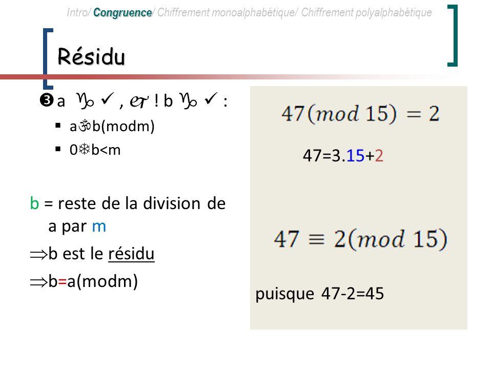 a congru à b modulo m Soit m 0, a, b a-b est divisible par m.
